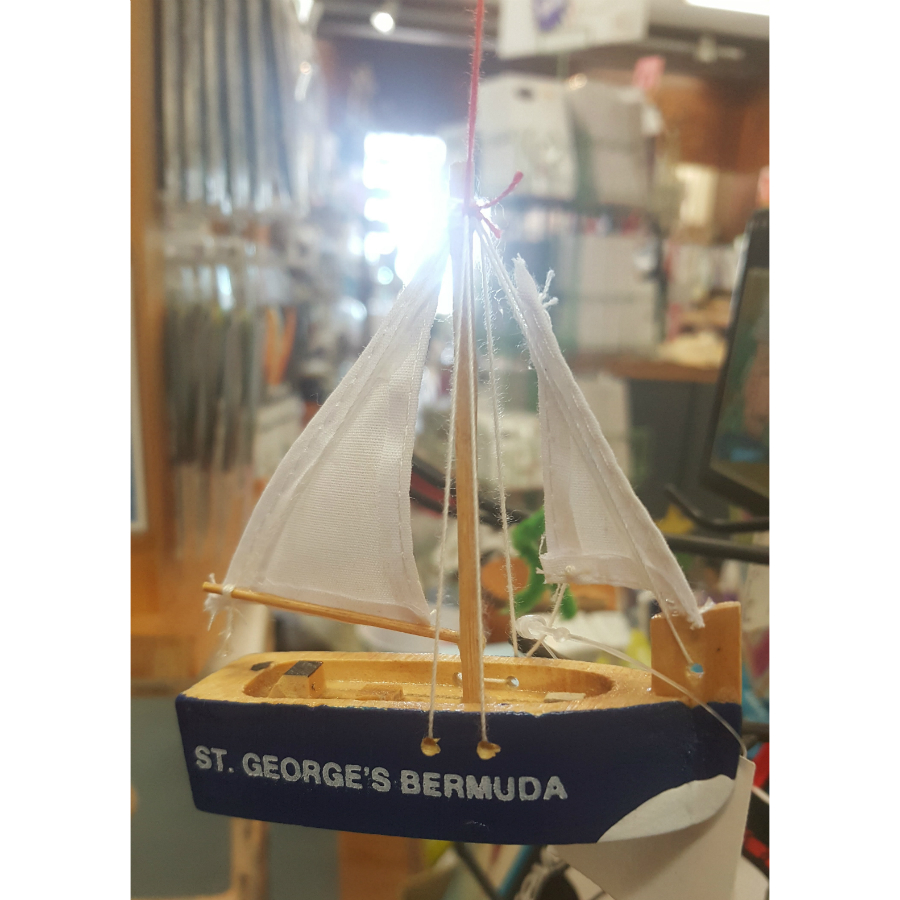 St. George's Bermuda Sailboat Ornament Blue