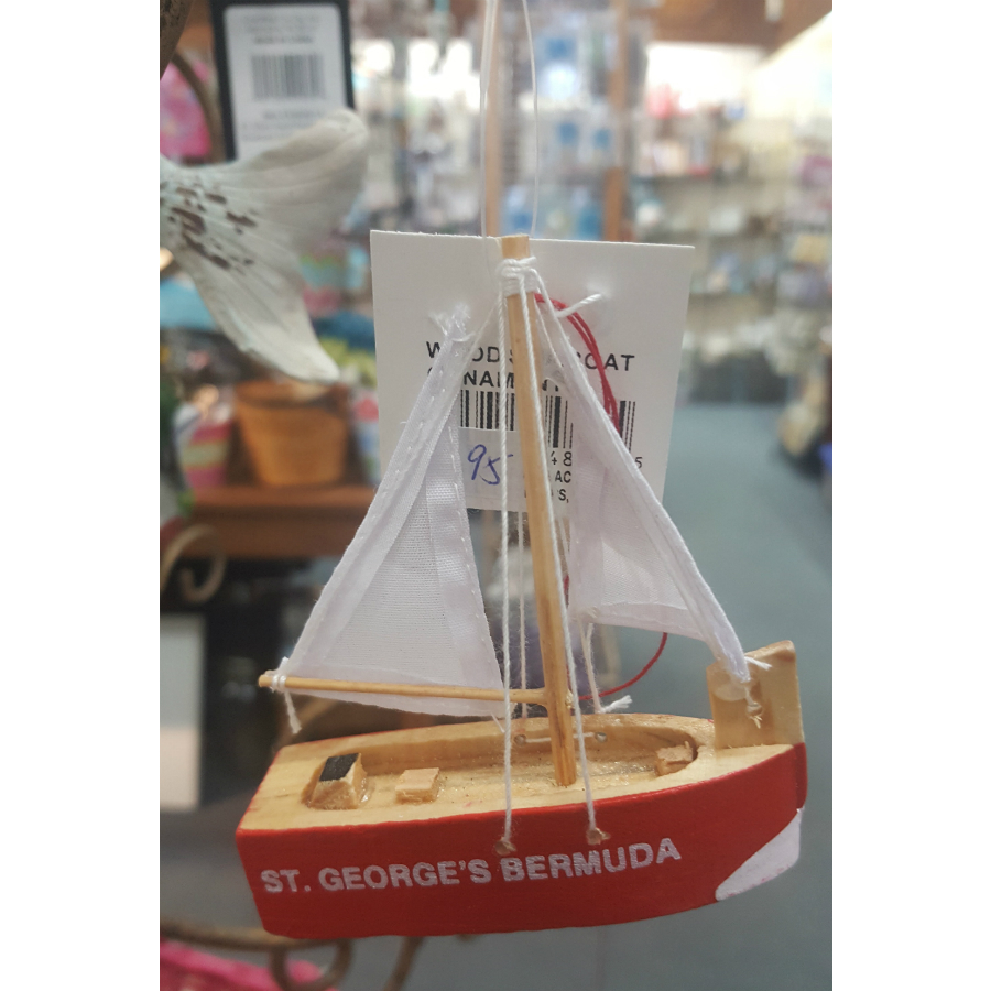 St. George's Bermuda Sailboat Ornament Red
