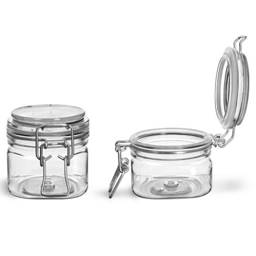 Clear PET Square Wire Bale Jar 7oz
