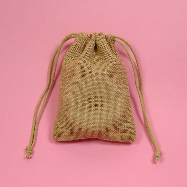 Burlap Drawstring Bag 8x12