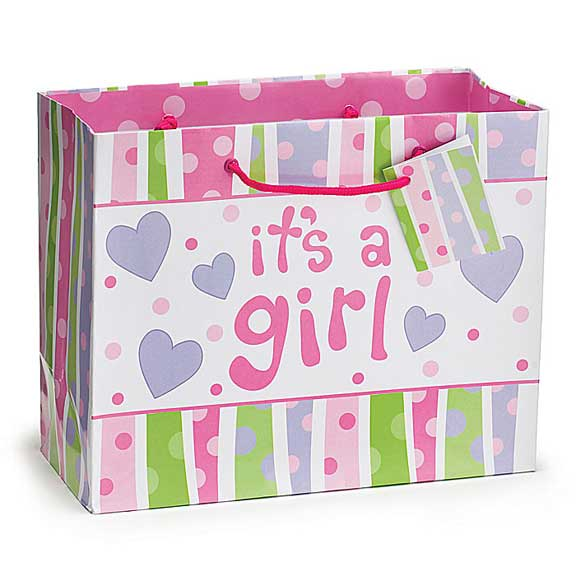 It's A Girl Baby Dots Gift Bag