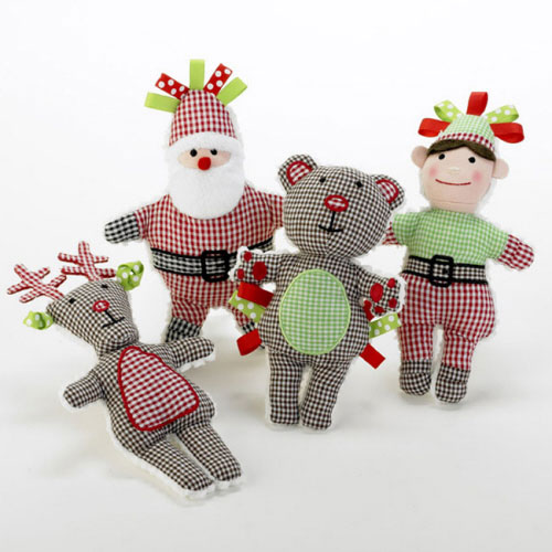 Gingham Baby Christmas Rattle
