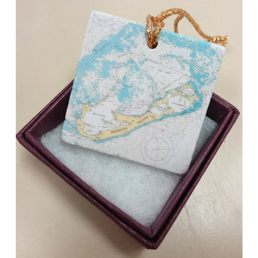 Bermuda Map Marble Ornament