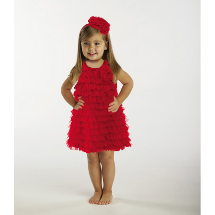 Red Tiered Party Dress 9-12M