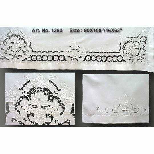 Cutwork Bolster Sheet Set 90x108""