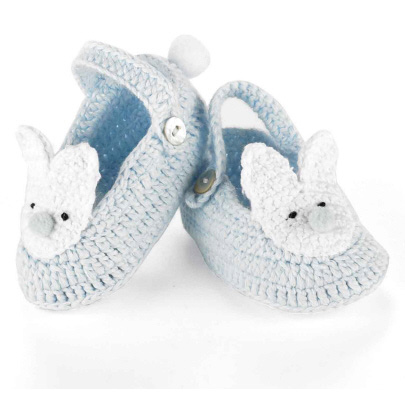 Blue Knit Bunny Booties 0-6M