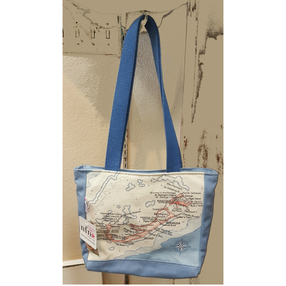 Bermuda Pink Map Mini Zip Top Tote