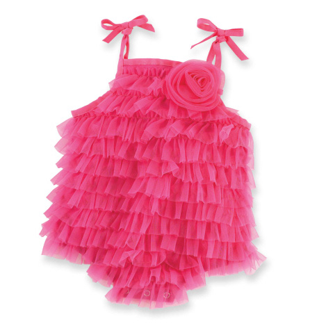 Hot Pink Chiffon Bubble 0-6M