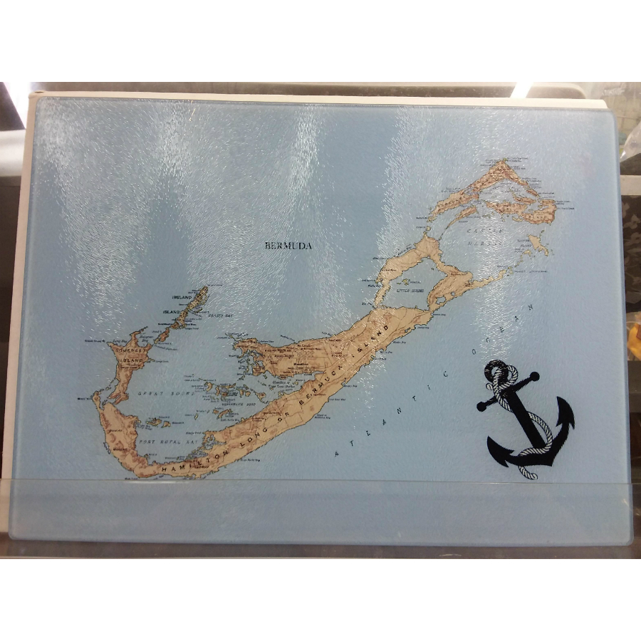 Bermuda Map Cutting Board Yellow