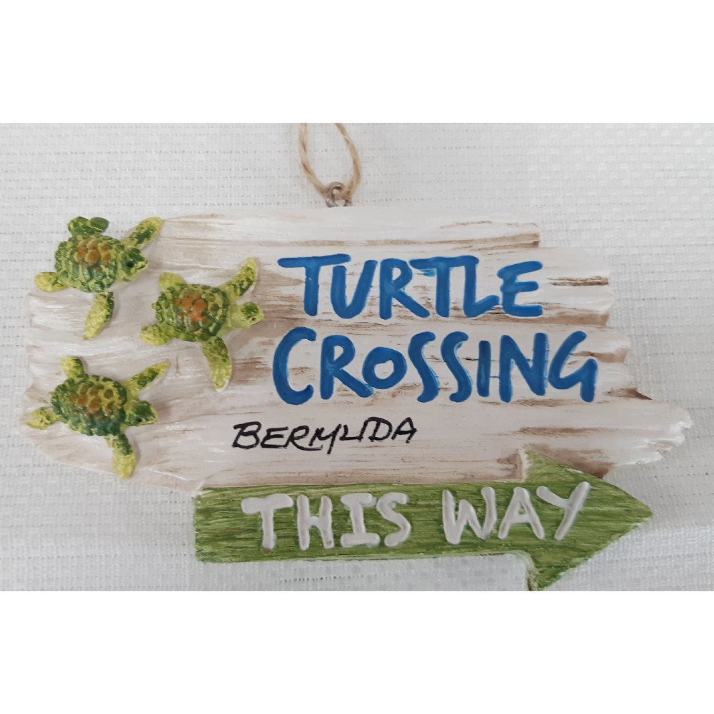 Bermuda Turtle Crossing Sign Ornament