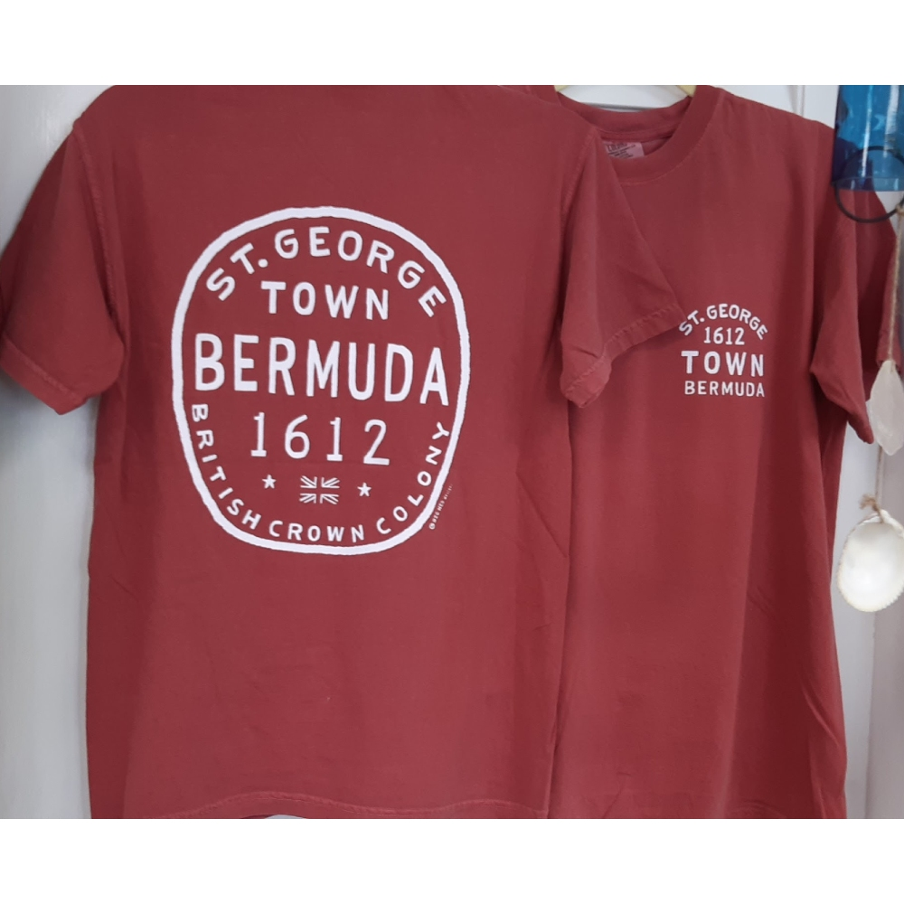 Antique Circle Bermuda T-Shirt Crimson 2XL