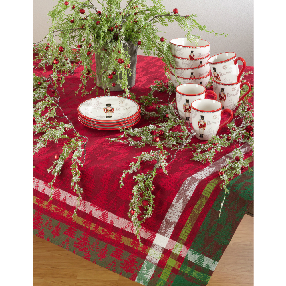 Christmas Tree Plaid Tablecloth 70sq