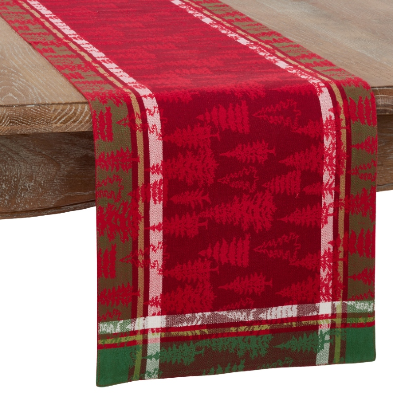 Christmas Tree Plaid Runner 72""