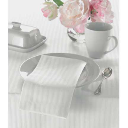 "White Pinstripe Tablecloth - 60"" Rd"