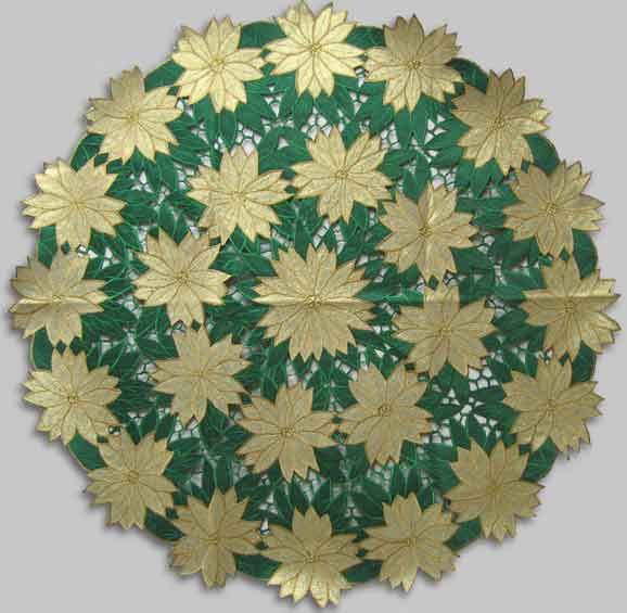 "Gold Poinsettias Table 36"" RD"