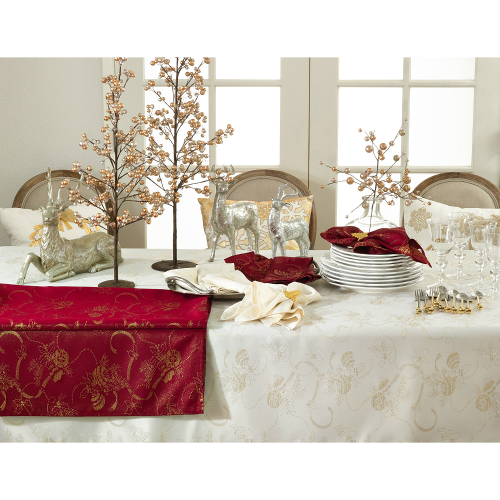 "Jacquard Christmas Tablecloth 104"" Ivory"