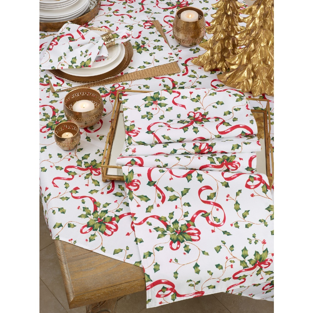 Holly & Ribbon Tablecloth 84""