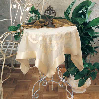 "Sheer Appliqué Gold Tablecloth 72""Sq"