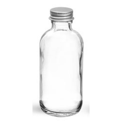 Clear Glass Round Bottle w/ Lined Aluminum Cap