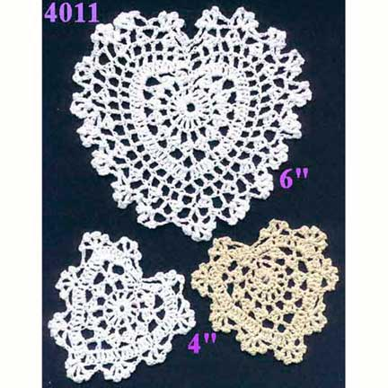 Cream Crocheted Heart Doily 4""