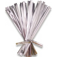 "Metallic Silver 4"" Twist Ties"