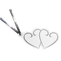 Double Heart Silver Tags & Ties