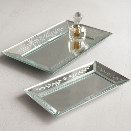 Exquisite Etched Mirror Tray Large
