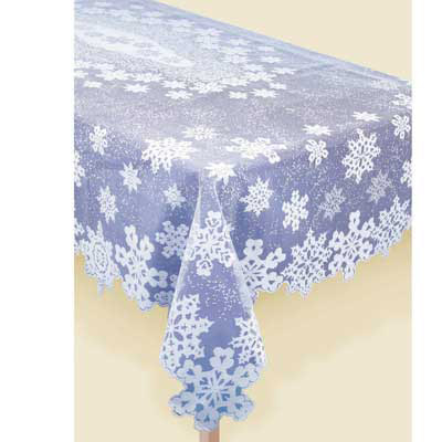 "Snowflake Lace Tablecloth 84""ob"
