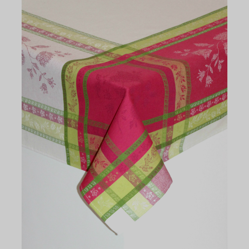 "Arles Pink Jacquard Tablecloth 118""Ob"