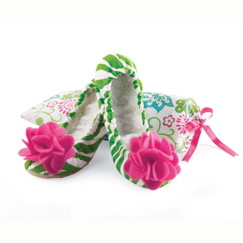 Green Zebra Slippers Small