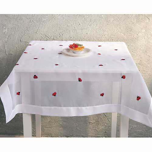 "Ladybug Embroidered Tablecloth 36""Sq"
