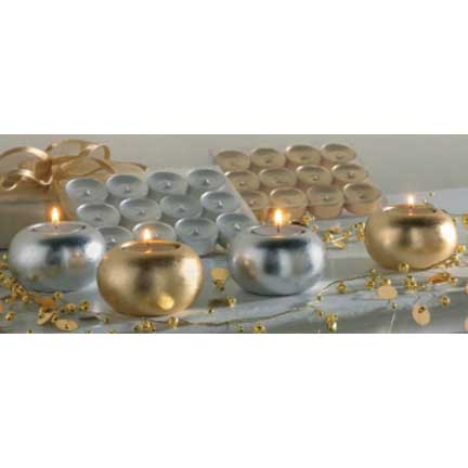 Metallic Silver Tealights Set/12