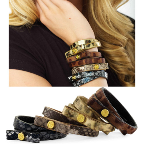 Animal Print Bow Wrap Bracelet Black Python
