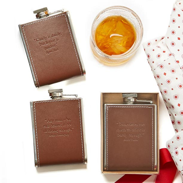 Leather Flask with Quote
