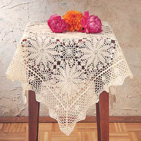 "841 Ecru Crocheted Tablecloth 36""Sq"