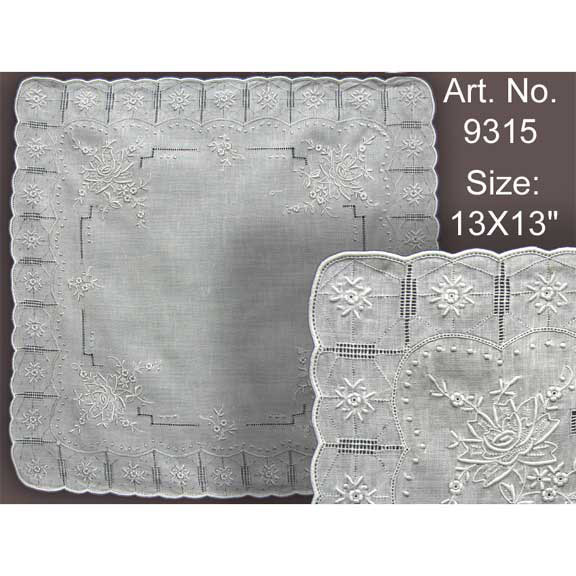 #9315 White Embroidered Linen Hanky 13""