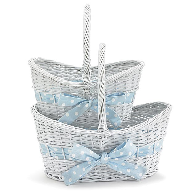 Large White Handled Basket - Blue Bow