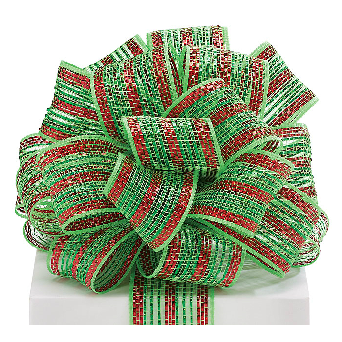 Green/Red Metallic Stripe Ribbon 25YD
