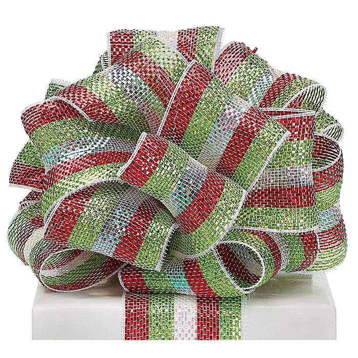 "Red/White/Lime Mesh Ribbon 4""x25YD"