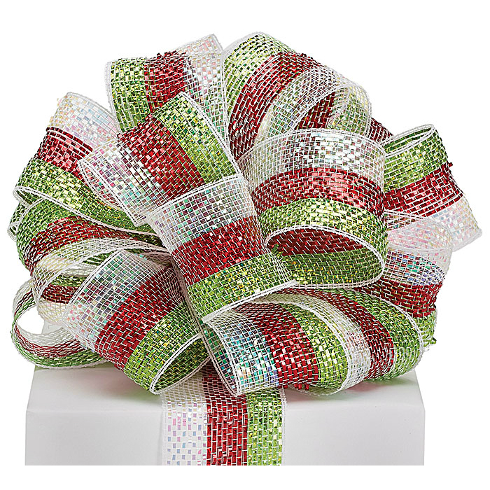 "Red/White/Lime Mesh Ribbon 2.5""x25YD"