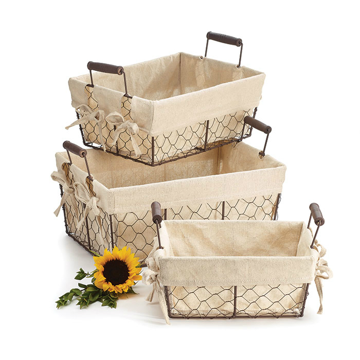Cloth Lined Wire Baskets