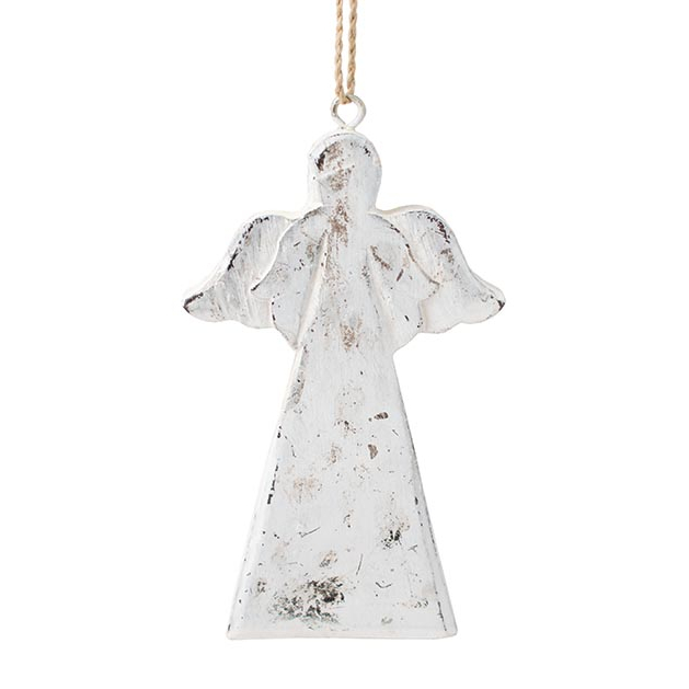 Wooden Angel Ornament Silver Finish