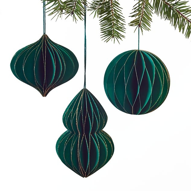 Green Paper Christmas Ornaments Set/3