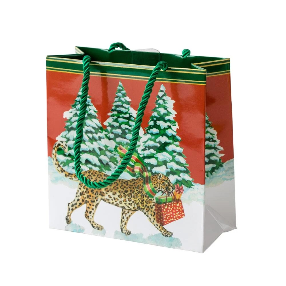 Christmas Leopards Small Square Gift Bag