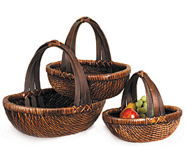 Dark Stain Basket w/ Handle Large