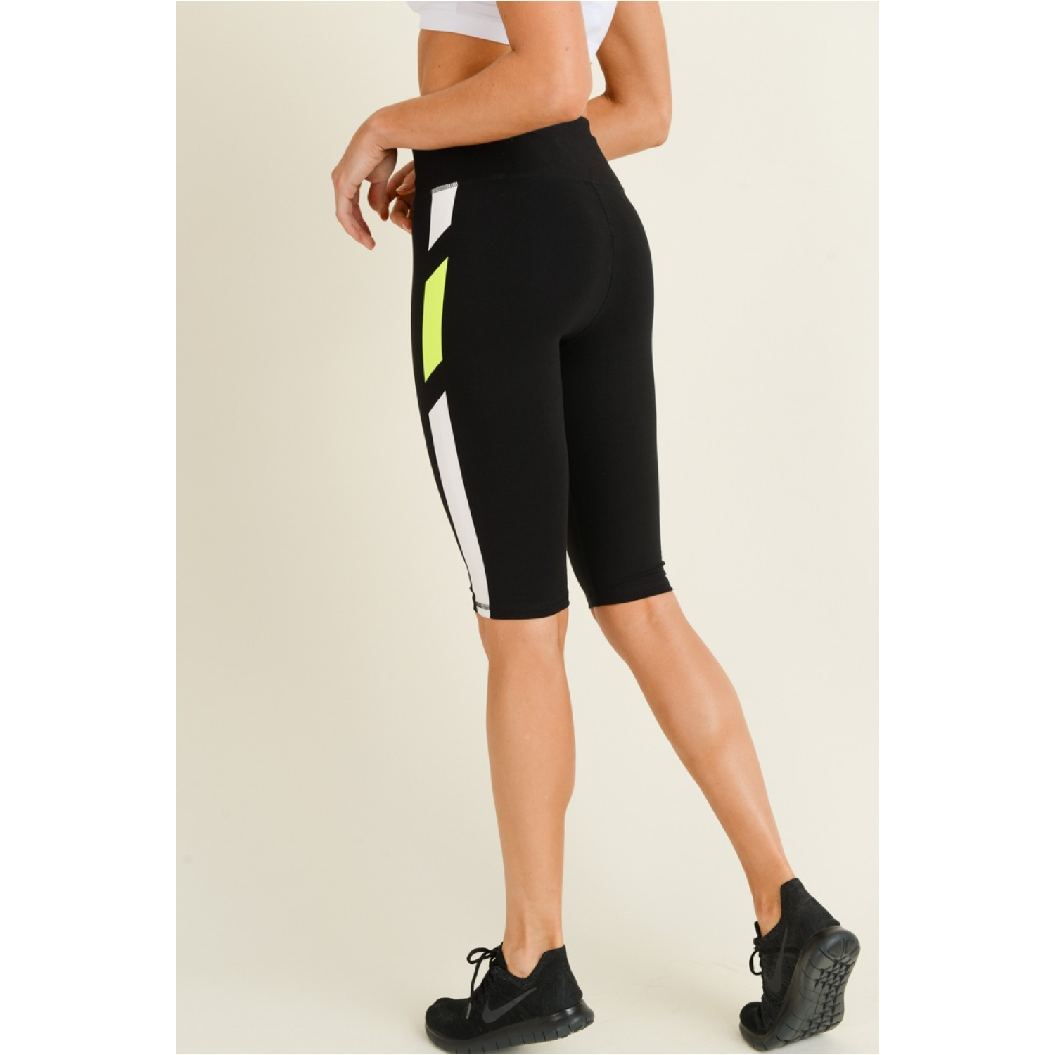 Neon Stripes Knee-Length Leggings SM