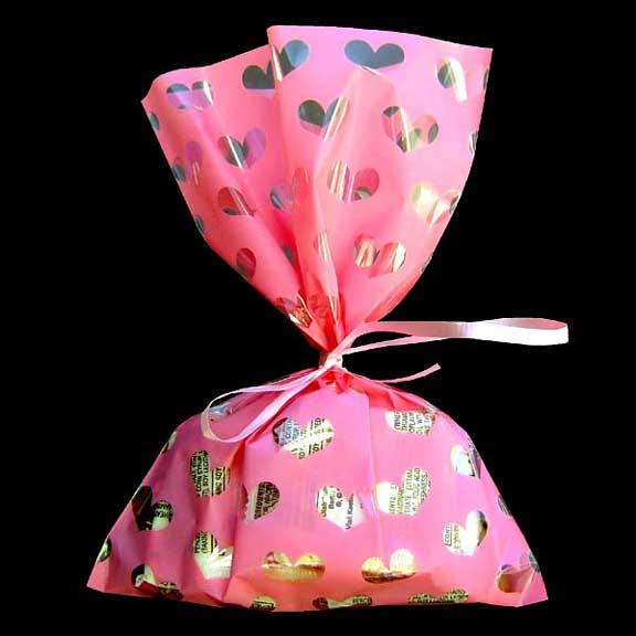 Pink Heart Printed Cello Bag 8""