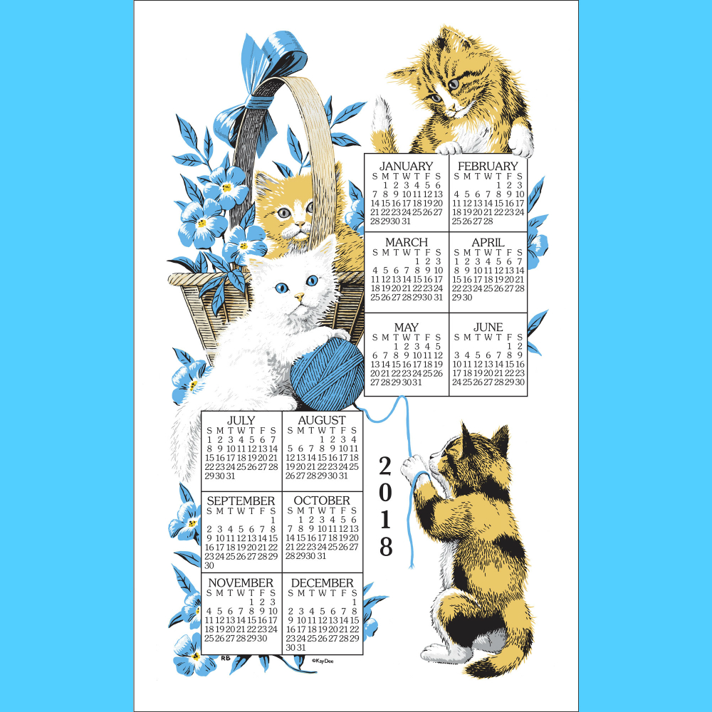 Curious Kittens Calendar Towel '18