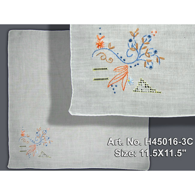 H45016 Hand Embroidered Hanky