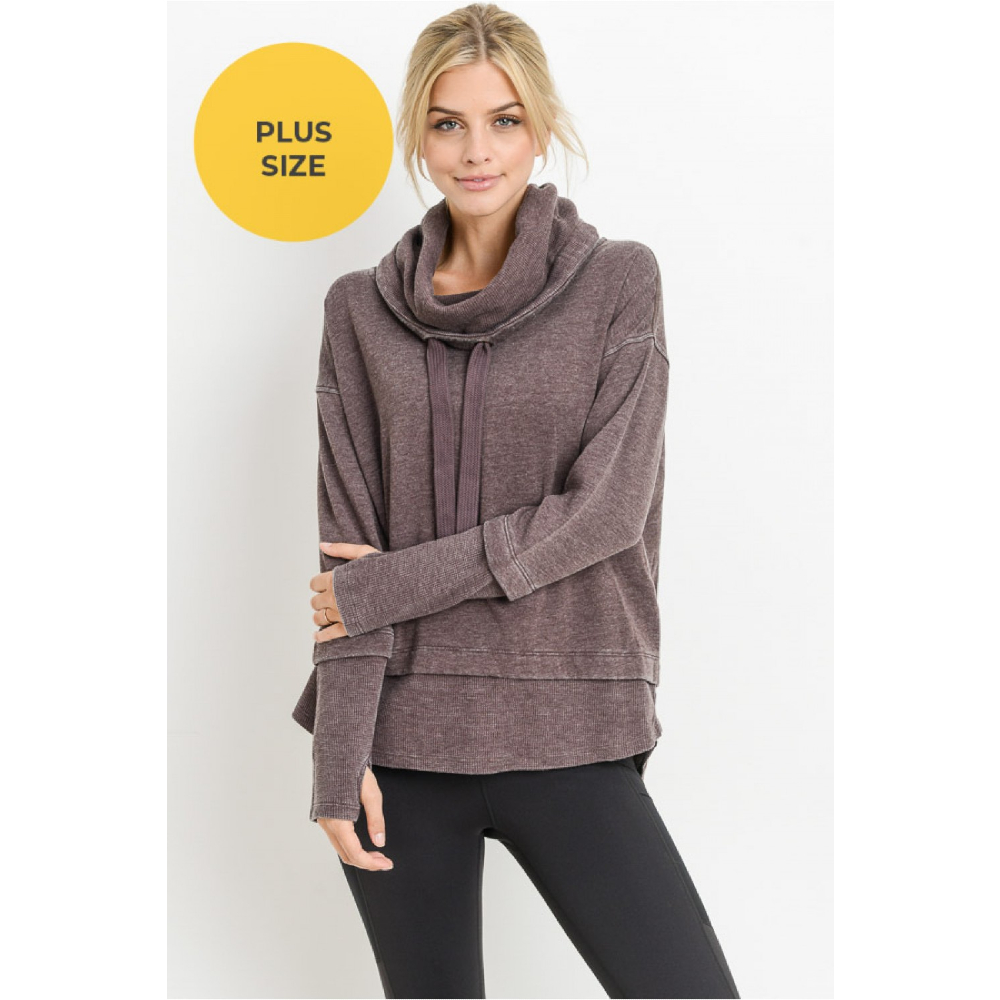 Mineral Wash Cowl Neck Pullover Plus
